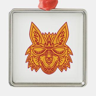 Coyote Head Sunglasses Smiling Mono Line Silver-Colored Square Ornament
