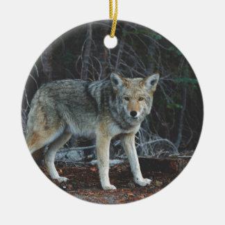 Coyote Hunting Ceramic Ornament