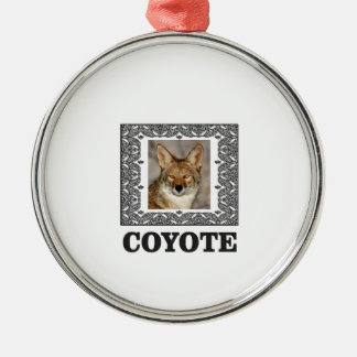 coyote in a box metal ornament