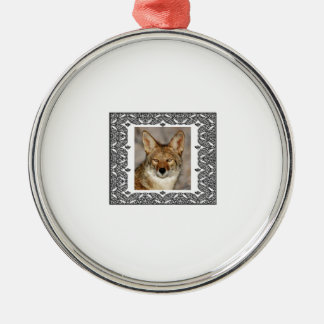 coyote in a frame metal ornament