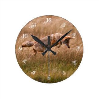 Coyote Leaping - Gibbon Meadows Wallclock