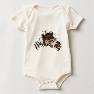 Coyote mascot ripping out baby bodysuit