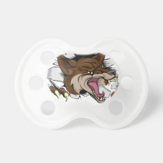 Coyote mascot ripping out pacifiers