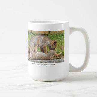 Coyote Pups Biting and Playing Coffee Mug