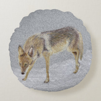 Coyote Round Pillow