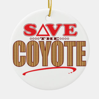Coyote Save Round Ceramic Ornament