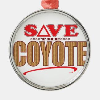 Coyote Save Silver-Colored Round Ornament