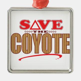 Coyote Save Silver-Colored Square Ornament