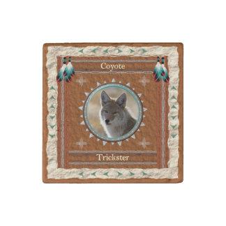 Coyote  -Trickster- Primed Marble Magnet