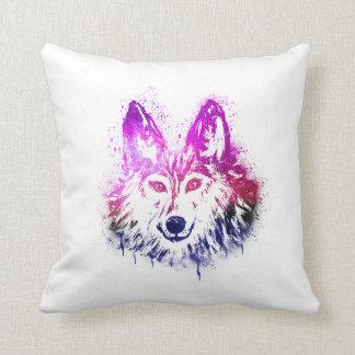 Coyote   Wolf art   paint Splash   Pink Purple Throw Pillow