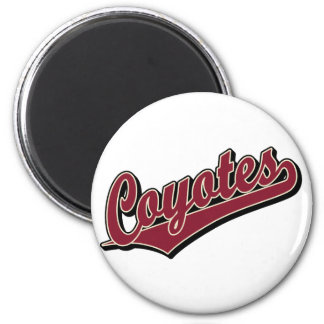 Coyotes in Maroon 2 Inch Round Magnet