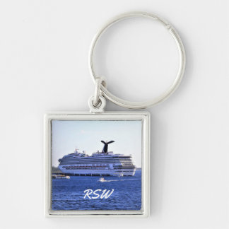 Cozumel Cruise Ship Visit Monogrammed Silver-Colored Square Keychain