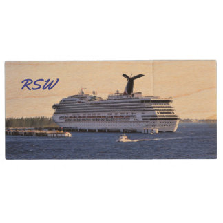 Cozumel Cruise Ship Visit Monogrammed Wood USB 3.0 Flash Drive