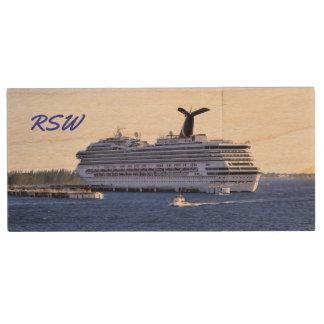Cozumel Cruise Ship Visit Monogrammed Wood USB Flash Drive