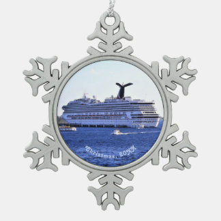 Cozumel Cruise Ship Visitor Dated Pewter Snowflake Ornament