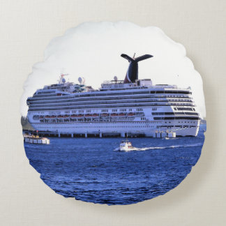 Cozumel Cruise Ship Visitor Round Pillow