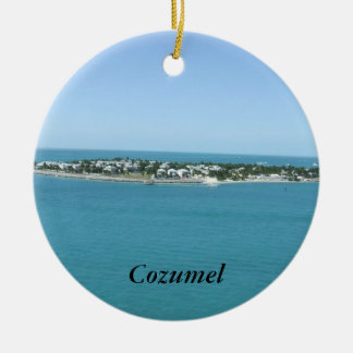 Cozumel Island Blue Water Tropical Round Ceramic Ornament