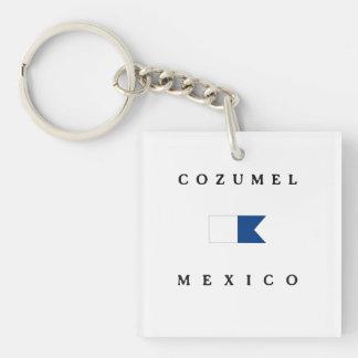 Cozumel Mexico Alpha Dive Flag Keychain