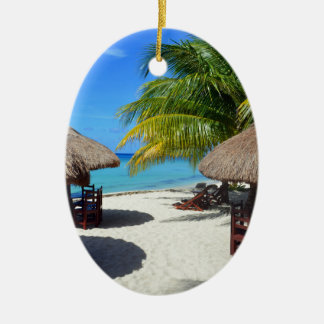 Cozumel Mexico Beach Hut Palm Tree Teal Water Vaca Ceramic Oval Ornament