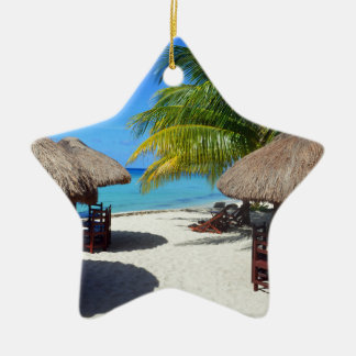 Cozumel Mexico Beach Hut Palm Tree Teal Water Vaca Ceramic Star Ornament