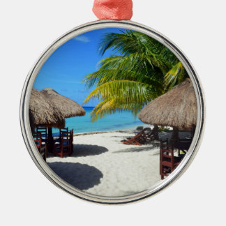 Cozumel Mexico Beach Hut Palm Tree Teal Water Vaca Silver-Colored Round Ornament