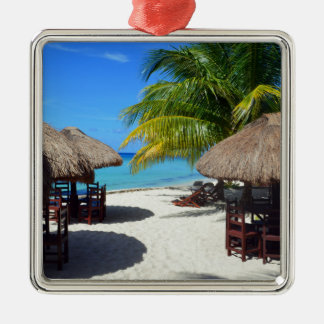 Cozumel Mexico Beach Hut Palm Tree Teal Water Vaca Silver-Colored Square Ornament