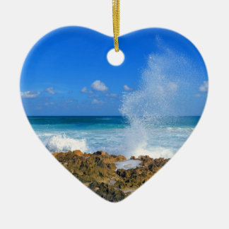 Cozumel Mexico Beach Wave Splash Water Spout Teal Ceramic Heart Ornament