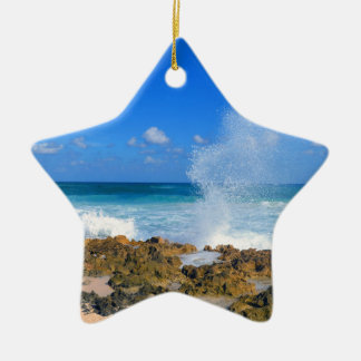 Cozumel Mexico Beach Wave Splash Water Spout Teal Ceramic Star Ornament