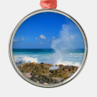 Cozumel Mexico Beach Wave Splash Water Spout Teal Silver-Colored Round Ornament