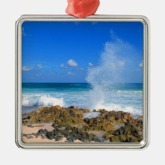Cozumel Mexico Beach Wave Splash Water Spout Teal Silver-Colored Square Ornament