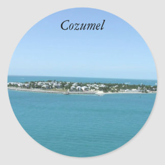 Cozumel Mexico Island, Blue Water Classic Round Sticker