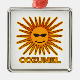 Cozumel Mexico Sun Face Silver-Colored Square Ornament
