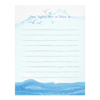 Cozy and Chic Ocean with Flying Seagulls Letterhead Template