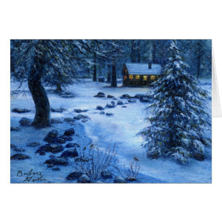 """""""Cozy Cabin in the Snow"""" Blank Note Card"""