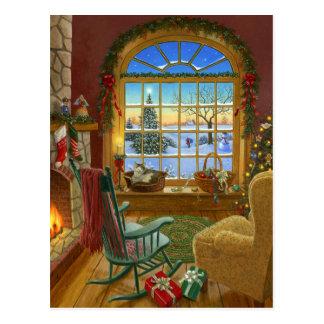 Cozy cat Christmas Postcard
