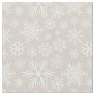 Cozy Chic Beige Winter Snowflakes Pattern Fabric
