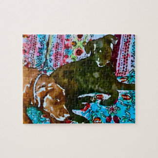 cozy chocolate lab black lab jigsaw puzzle
