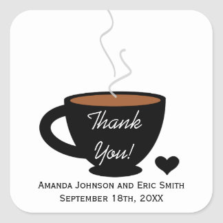 Cozy Coffee Love Thank You Favor Label Sticker