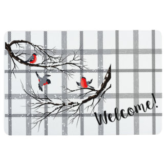 Cozy Country Cottage Winter Birds Welcome Mat