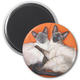 Cozy Couple Siamese Cat Magnet