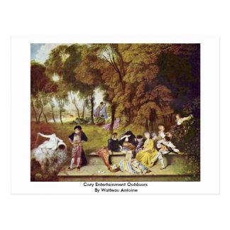 Cozy Entertainment Outdoors By Watteau Antoine Postcard