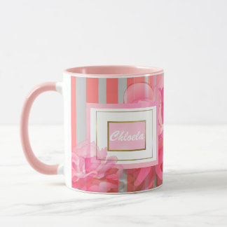 COZY FLOWER COFFEE MUG, PINK STRIPES MUG