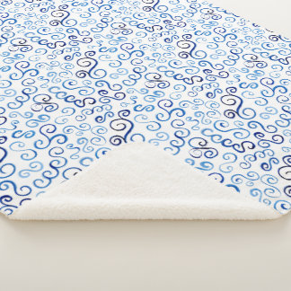 Cozy Hand-Painted Prussian Blue Watercolor Curves Sherpa Blanket