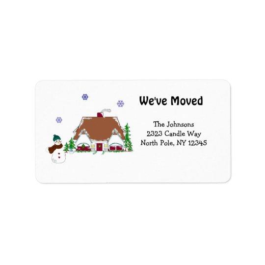 Cozy House Scene New Address Label