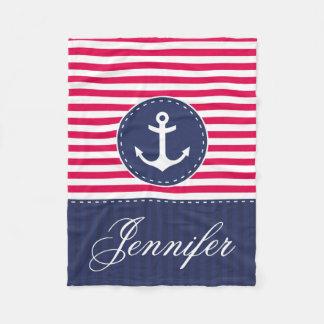 Cozy Nautical Red Blue Anchor Custom Text Fleece Blanket