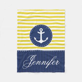 Cozy Nautical Yellow Blue Anchor Custom Text Fleece Blanket