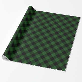 Cozy Plaid   Green and Black Buffalo Plaid Wrapping Paper
