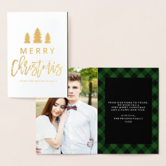 Cozy Plaid in Green | Foil Holiday Photo Card