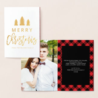 Cozy Plaid in Red | Foil Holiday Photo Card