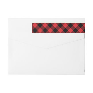 Cozy Plaid | Red and Black Buffalo Plaid Holiday Wraparound Return Address Label